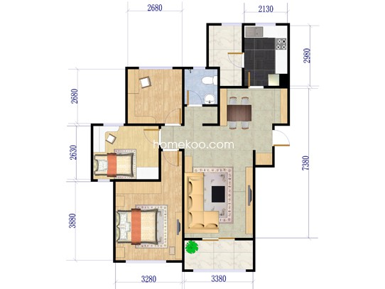 Ga-4户型图3室2厅1卫1厨 108�O
