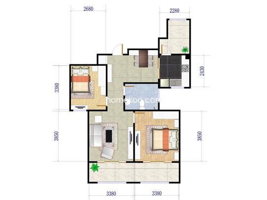Xa-2户型图2室2厅1卫 90�O