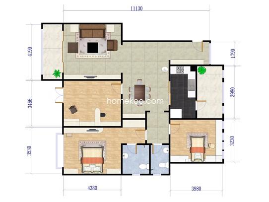 3室2厅2卫1厨 133�O