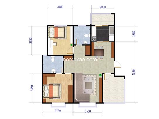2+1户型2室2厅2卫1厨 90�O