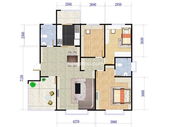 3+1户型3室2厅2卫1厨 110�O
