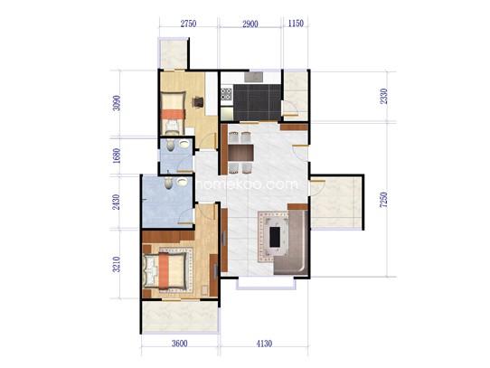 B座偶数楼层2室2厅2卫1厨 89�O