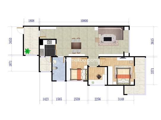二期8栋B座C、D户型3室2厅1卫1厨 89�O