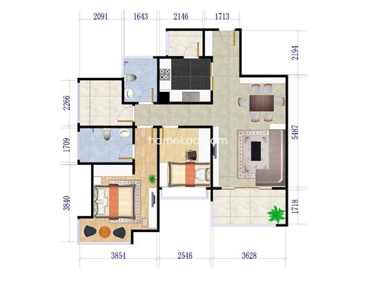 6户型两房两厅两卫+多功能间 88�O