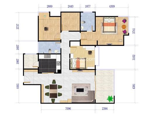 7户型两房两厅两卫+多功能间 124�O