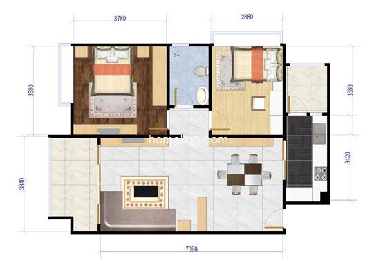 两房一厅装修设计图片