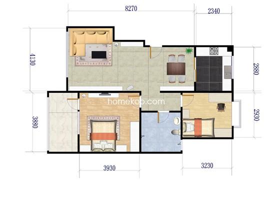 2-1户型2室2厅1卫1厨 85�O