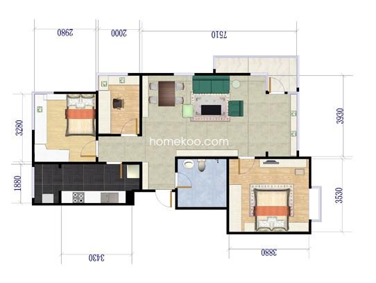 A-3户型3室2厅1卫1厨 95�O