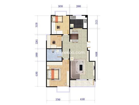 B-7户型3室2厅1卫1厨 91�O
