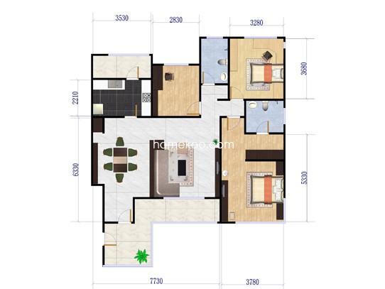 s-3户型3室2厅2卫1厨 130�O