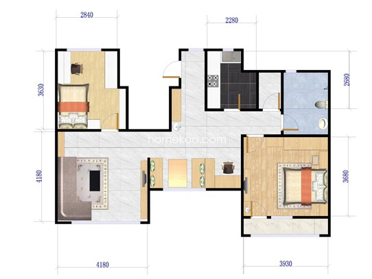6-G户型2室2厅1卫1厨 92�O