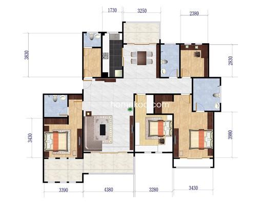4#E14室2厅4卫1厨 199�O