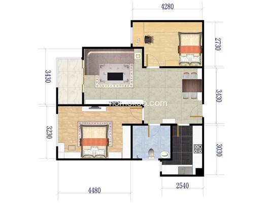 A2室2厅1卫1厨 85�O