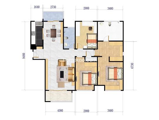 D1户型3室2厅2卫 141�O