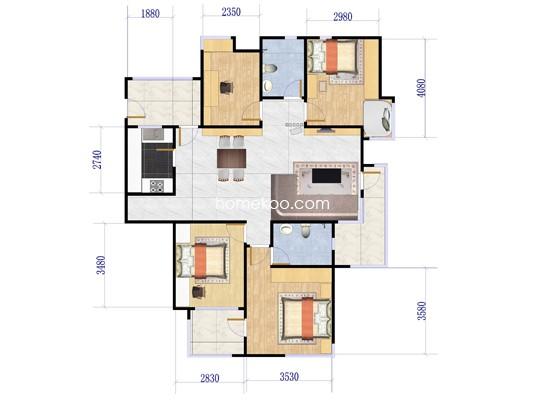 2D户型4室2厅2卫 139�O