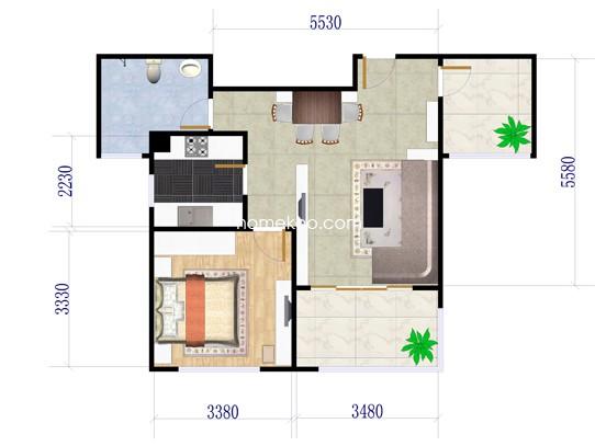 2E户型1室1厅1卫1厨 58�O