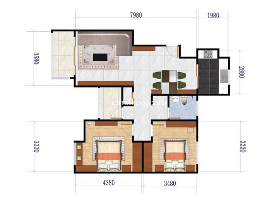 B3户型2室2厅1卫1厨 97�O