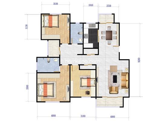 C1户型3室2厅2卫1厨 148�O