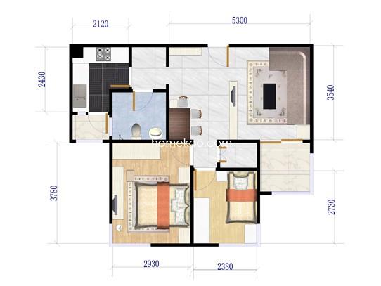 1室2厅1卫 85.80�O