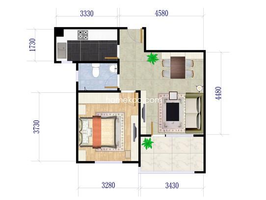 A户型一房两厅一卫 63�O