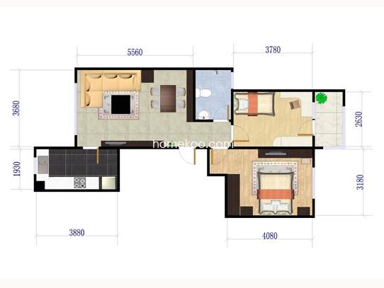 C2户型两室两厅一卫 89�O