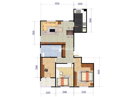 D户型3室2厅1卫 118�O