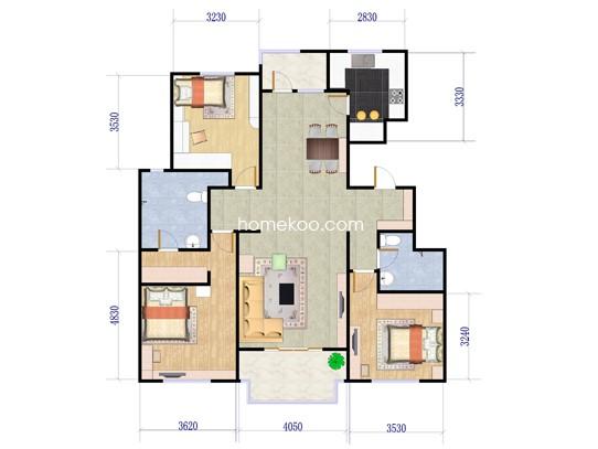 B户型3室2厅2卫 约140�O