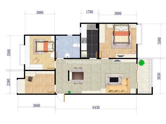 A4户型3室2厅1卫 90�O