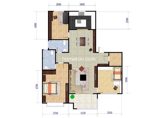 C3户型3室2厅2卫 125�O