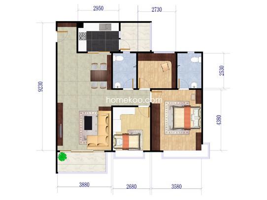 13座3梯01户型3室2厅2卫1厨 105�O