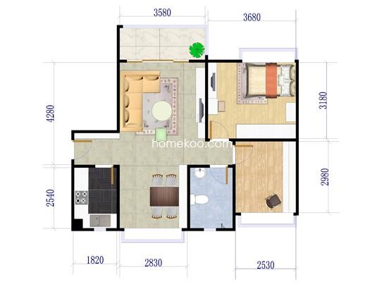 14座一梯01户型2室2厅1卫1厨 72.68�O