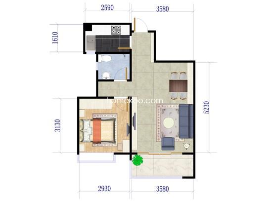 14座一梯03户型1室2厅1卫1厨 55.31�O