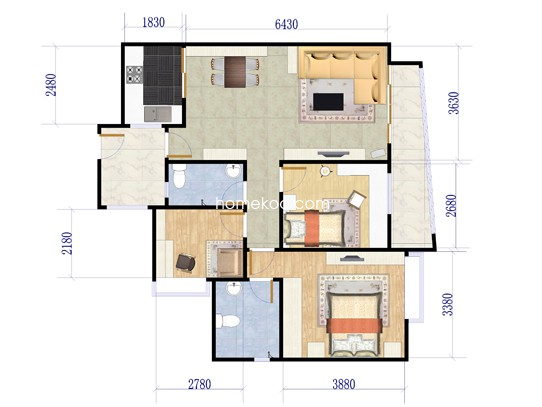海幢居05单元、06单元3室2厅2卫1厨 103�O