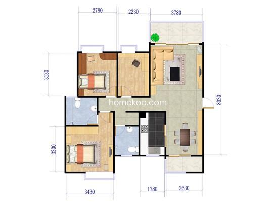 尚品雅居3栋2座平层图
