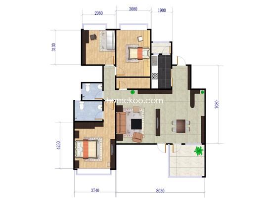 1A(1B)户型4室2厅2卫1厨 147�O