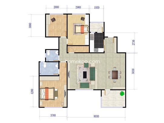 2A(2B)户型3室2厅2卫1厨 139�O