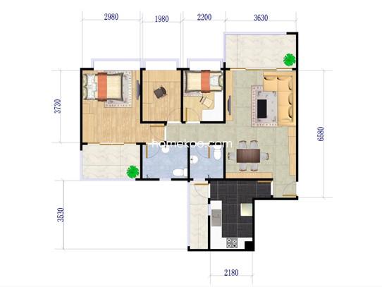 C10-C11栋C、D户型3室2厅2卫1厨 89�O