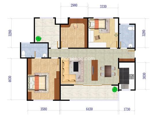 A户型翠堤3室2厅2卫1厨 125�O