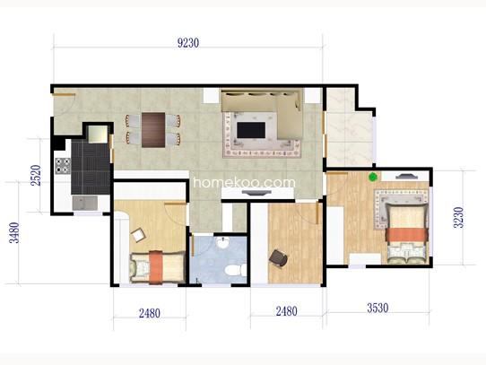 H-3A户型3室2厅1卫1厨 78�O