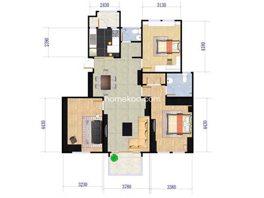 乙-1户型3室2厅2卫 118.86�O
