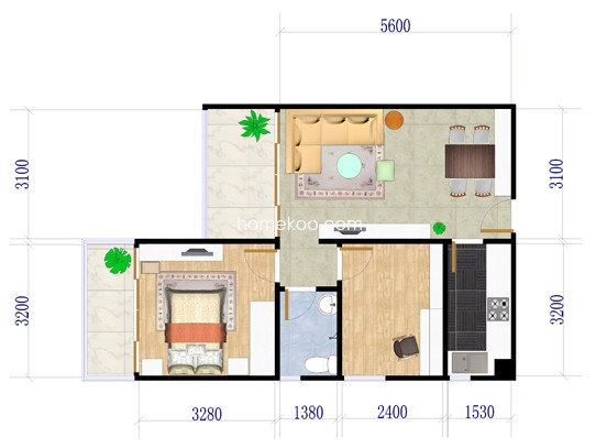 6栋E户型2室2厅1卫1厨 63�O