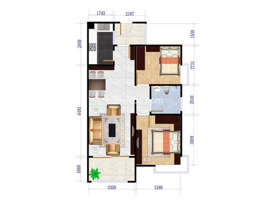 二期八街1号楼01户型2室2厅1卫1厨 86�O