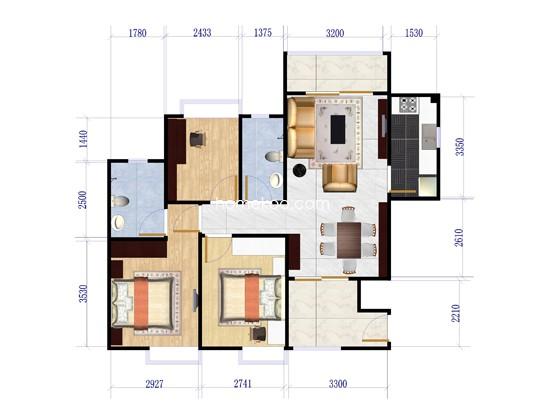 二期八街1号楼03户型3室2厅2卫1厨 108�O
