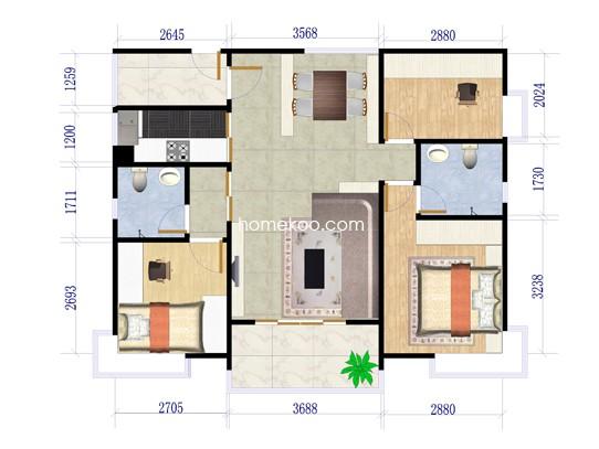 二期四街1号楼01户型3室2厅2卫1厨 138�O