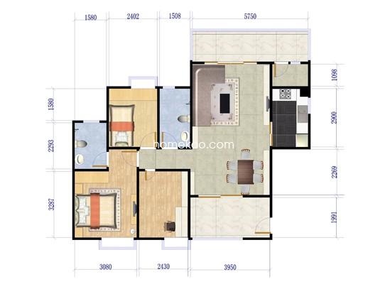 二期四街1号楼02户型3室2厅2卫1厨 143�O