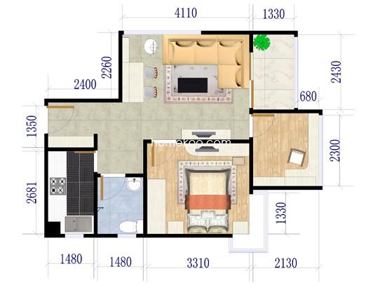 两室两厅一卫 59�O