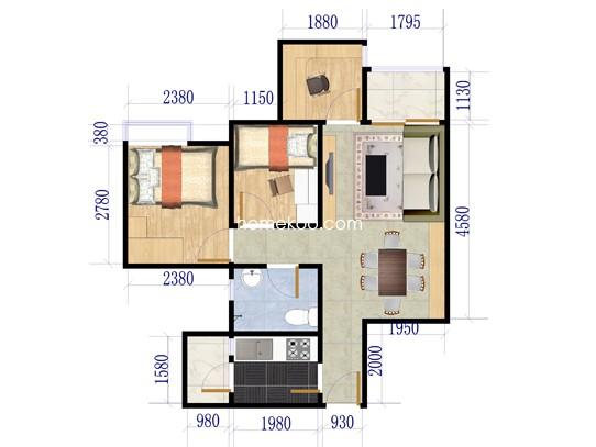 两室两厅一卫 79�O