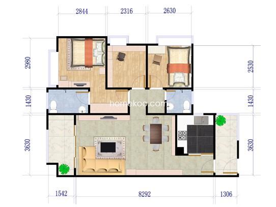 B1-B4栋01、02户型3室2厅2卫1厨 94�O