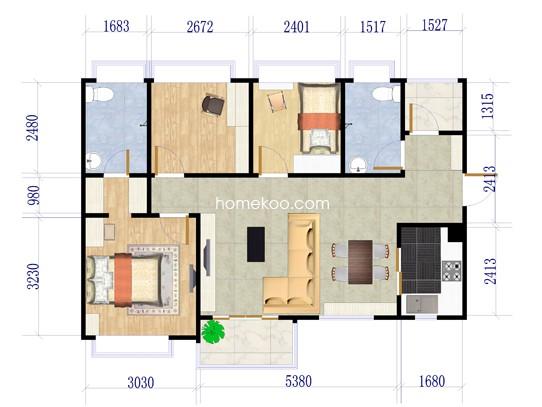 B1-B4栋03、06户型3室2厅2卫1厨 93�O