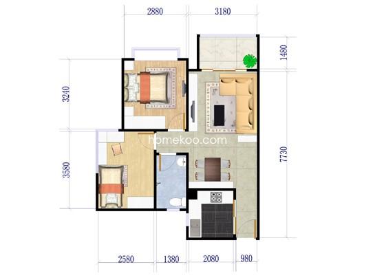 B1-B4栋04、05户型2室2厅1卫1厨 78�O